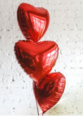 Set of hearts 3 pcs. red
