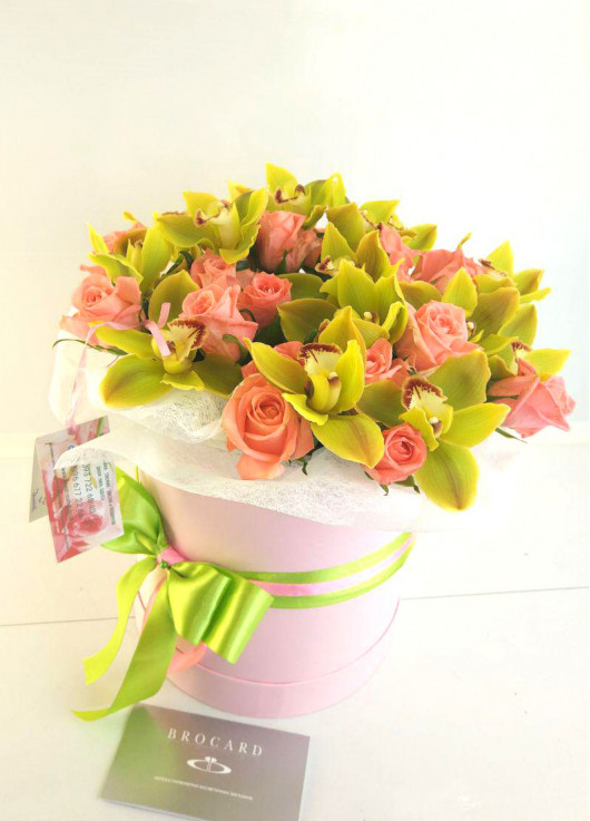 Orchids in a hat box