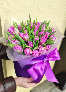 51 tulips in a hat box