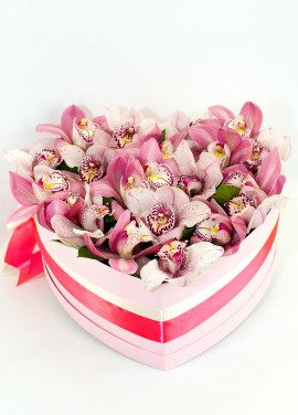 Orchids in a hat box heart