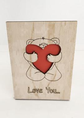"Wooden postcart ""Love you"" #003 art number"