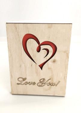 "Wooden postcart ""Love you"""