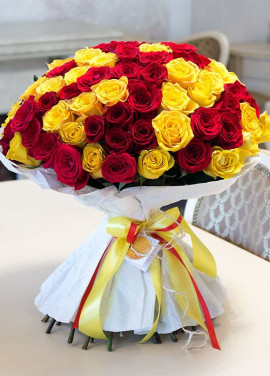 Helios 51 yellow and red roses