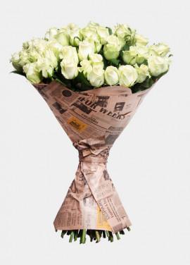 Roses in newspaper