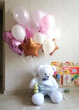 For my love set: teddy bear, roses baloons
