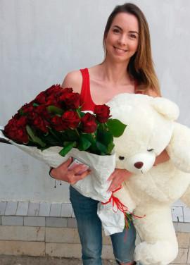 19 roses + big bear