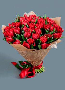 Tulips in newspaper