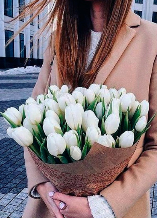 Bouquet of 51 white tulips